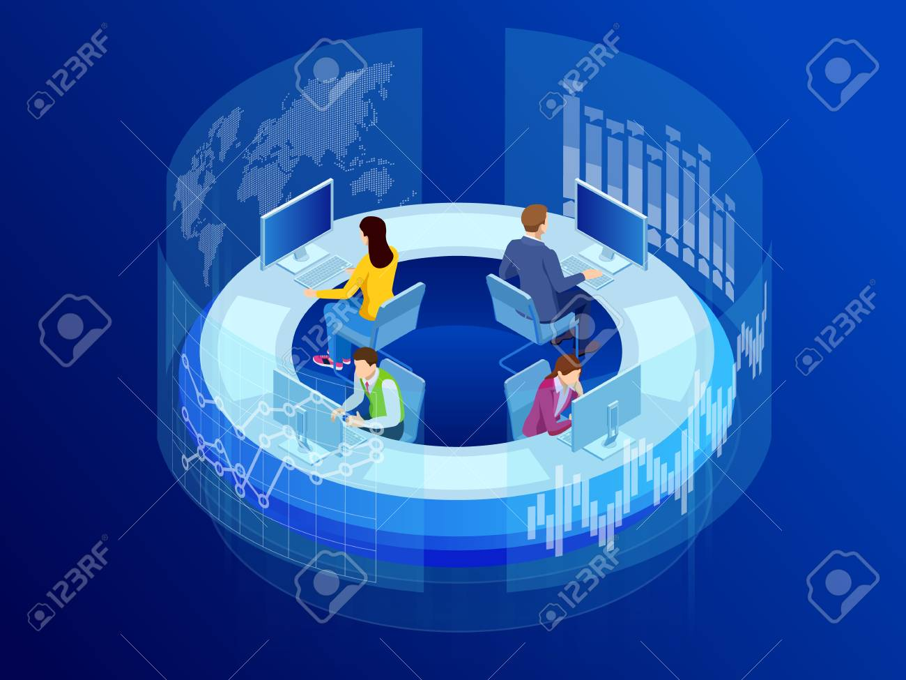 Isometric Business data analytics process management or intelligence dashboard on virtual screen showing sales and operations data statistics charts and key performance indicators concept - 107794509