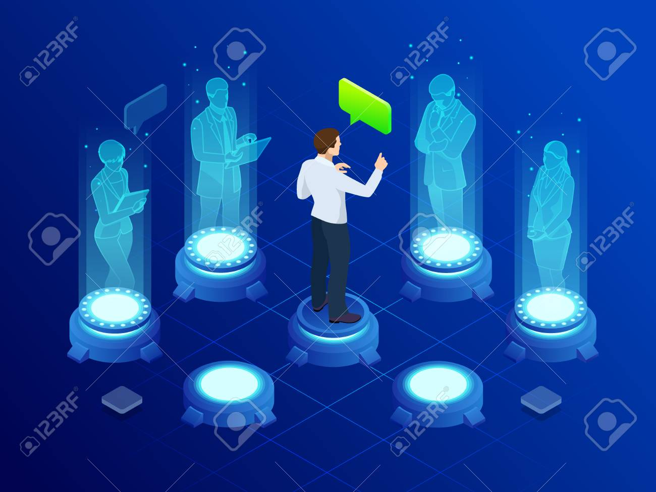 Isometric man communicates with abstract futuristic screen holograms. Business conference. The concept of network, communication, business, technology, augmented reality. - 110081473