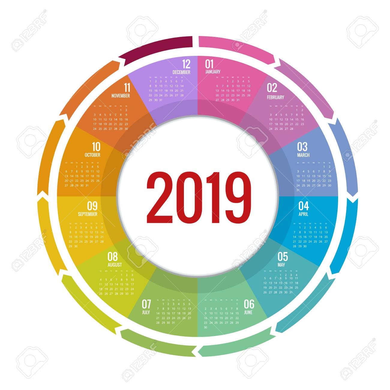 Year Round Calendar 2019 Colorful Round Calendar 2019 Design Royalty Free Cliparts, Vectors