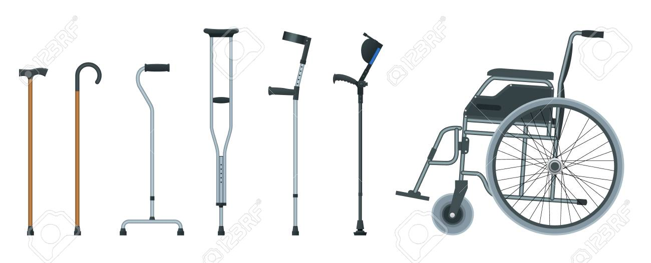 Set of mobility aids including a wheelchair, walker, crutches, quad cane, and forearm crutches. Flat illustration. Health care concept - 126044140
