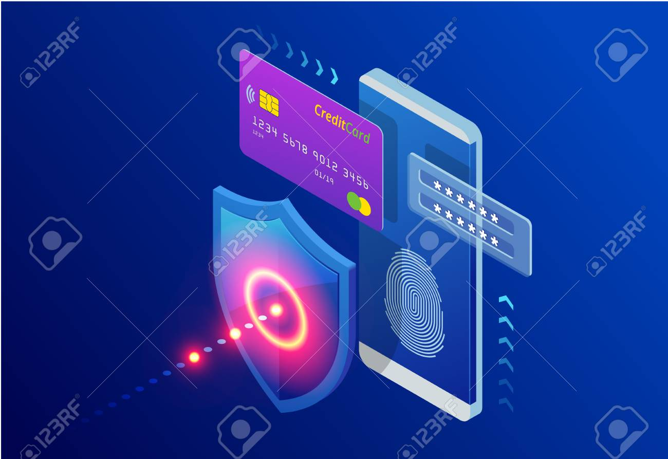 Isometric Protection network security and safe your data concept. Web page design templates Cybersecurity. Digital crime by an anonymous hacker. Vector illustration - 116325417