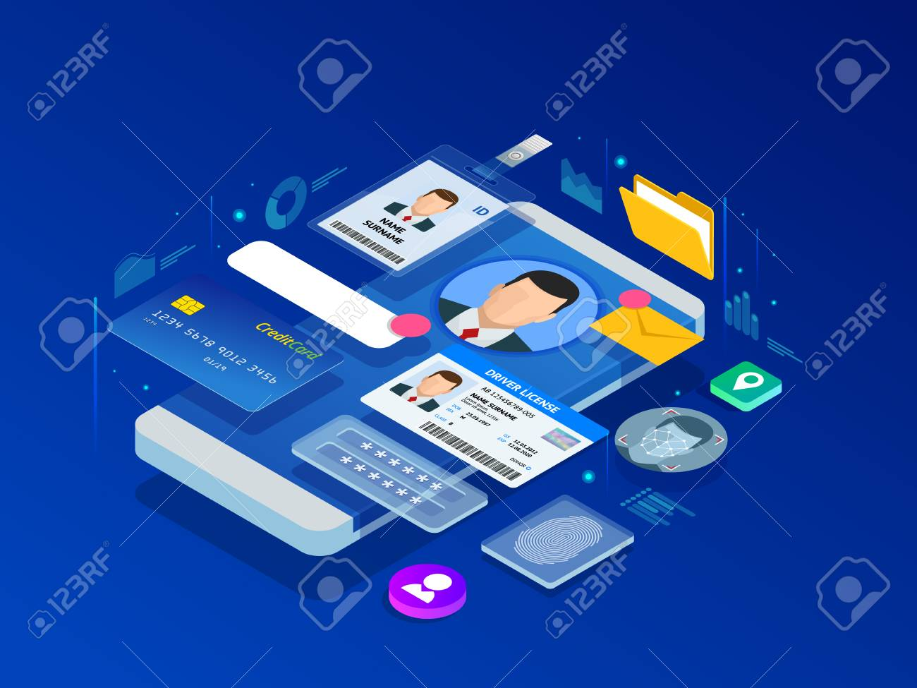 Isometric Personal Data Information App, Identity Private Concept. Digital data Secure Banner. Biometrics technology vector illustration for personal identity recognition and access authentication. - 116760726