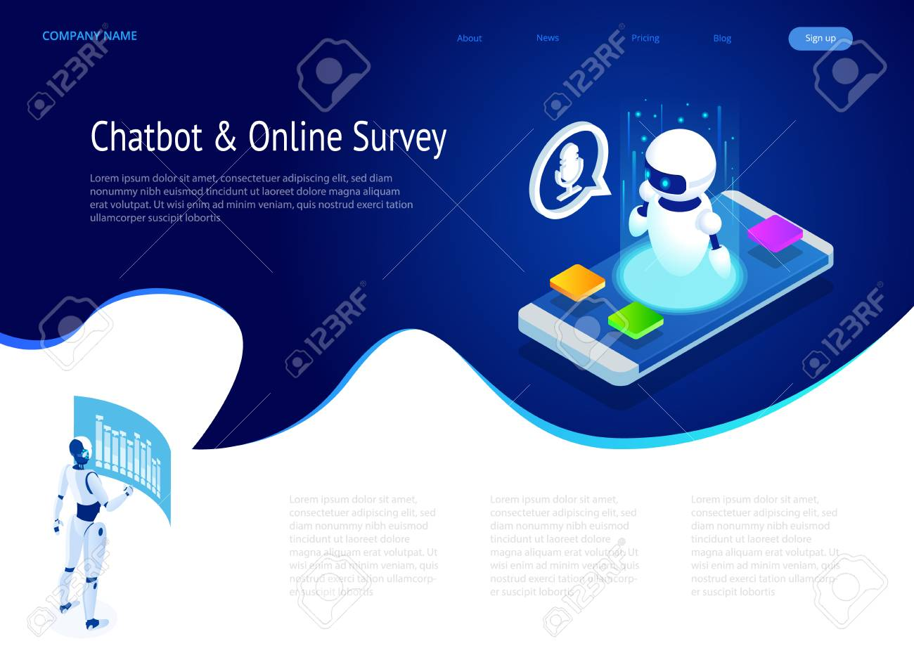 Isometric Chat bot and online survey  Online exam, questionnaire