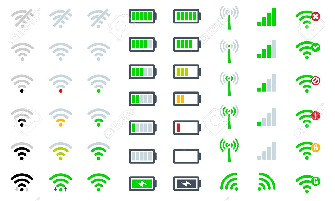 Flat Mobile phone system icons signal strength, battery charge level and symbol sign remote access and communication radio - 125384912