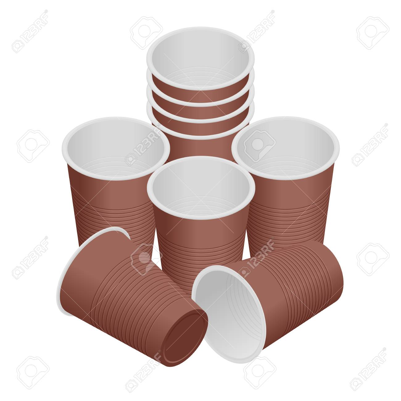 Isometric Plastic Cup Empty White Plastic Disposable Cups Royalty Free Cliparts Vectors And Stock Illustration Image 125384916