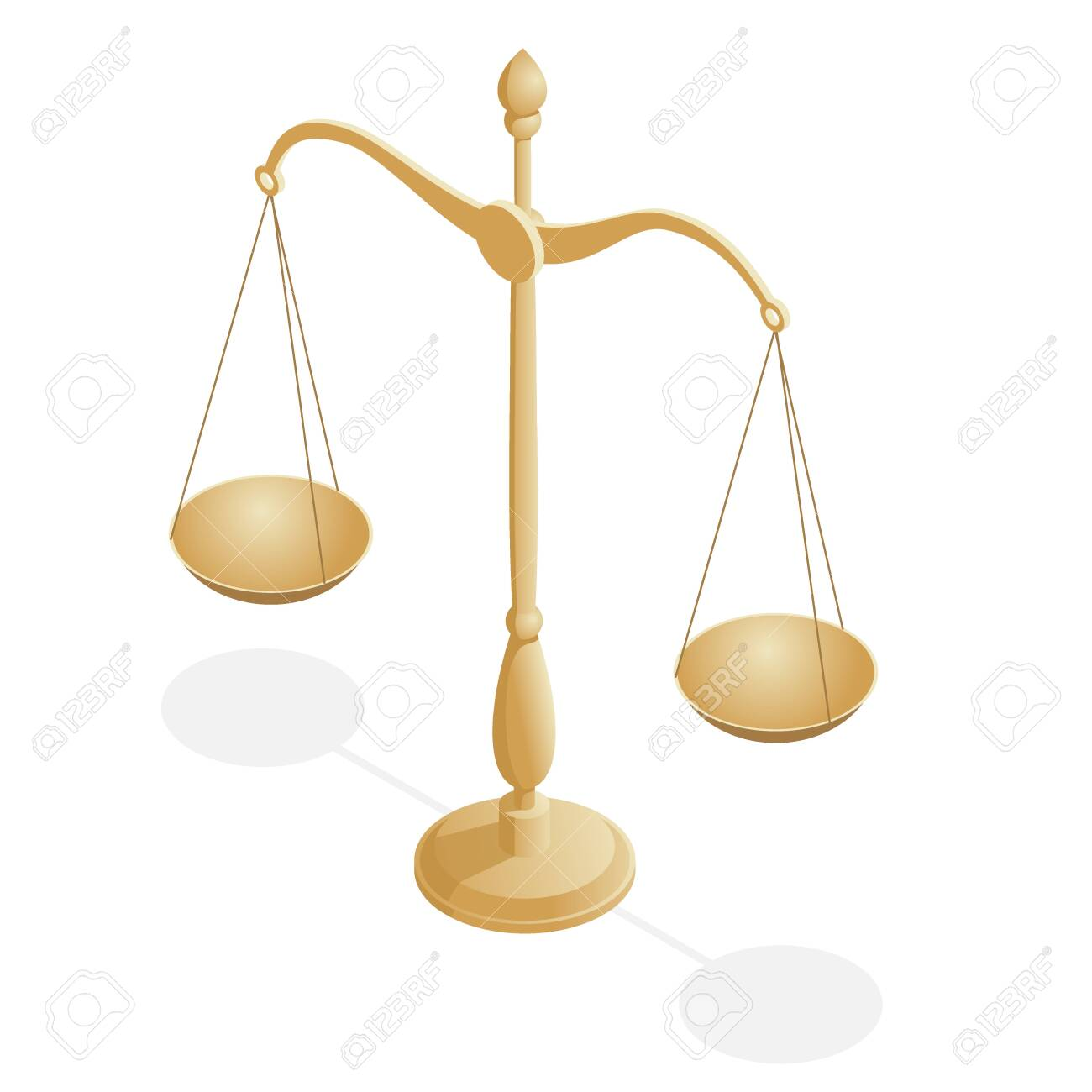 Isometric symbol of law and justice, law and justice, legal, jurisprudence. - 125384923