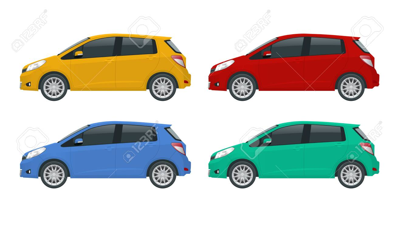 Subcompact hatchback car. Compact Hybrid Vehicle. Eco-friendly hi-tech auto. Template isolated on white View side. - 138295248