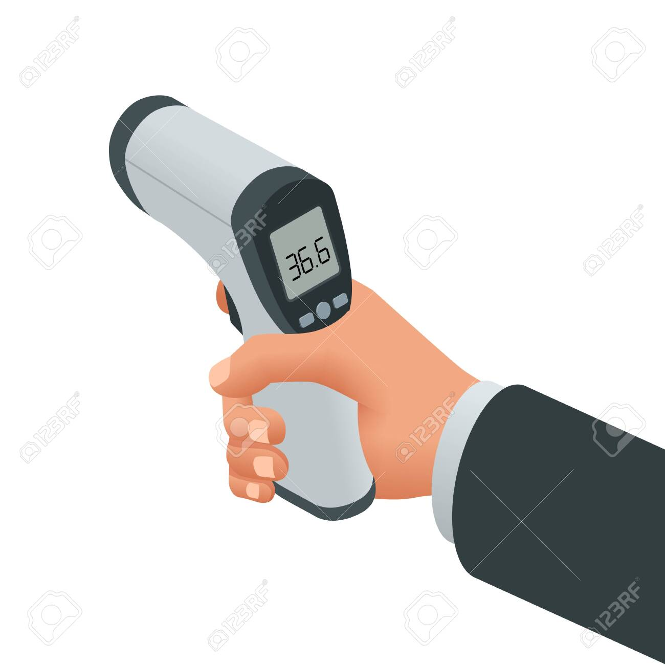 Isometric Medical Digital Non-Contact Infrared Thermometer. It measures the ambient and body temperature without contact with colored warning symbols - 139070164