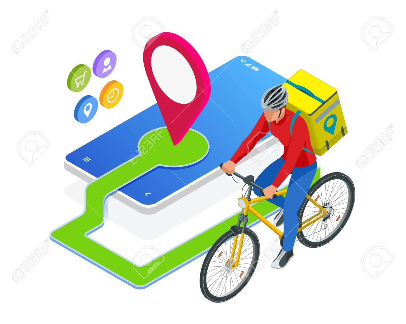 Isometric bicycle courier, Express delivery service. Courier on bicycle with parcel box on the back delivering food In city. Ecological fast delivery. City Food delivery service. Online ordering. - 141422152