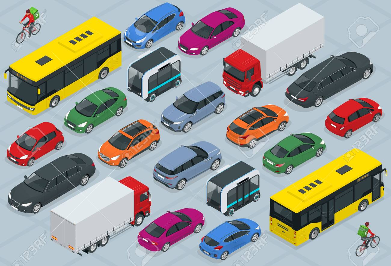 Flat 3d isometric high quality city transport car icon set. Bus, bicycle courier, Sedan, van, cargo truck, off-road, bike, mini and sport cars. Urban public and freight vehihle. - 141923292
