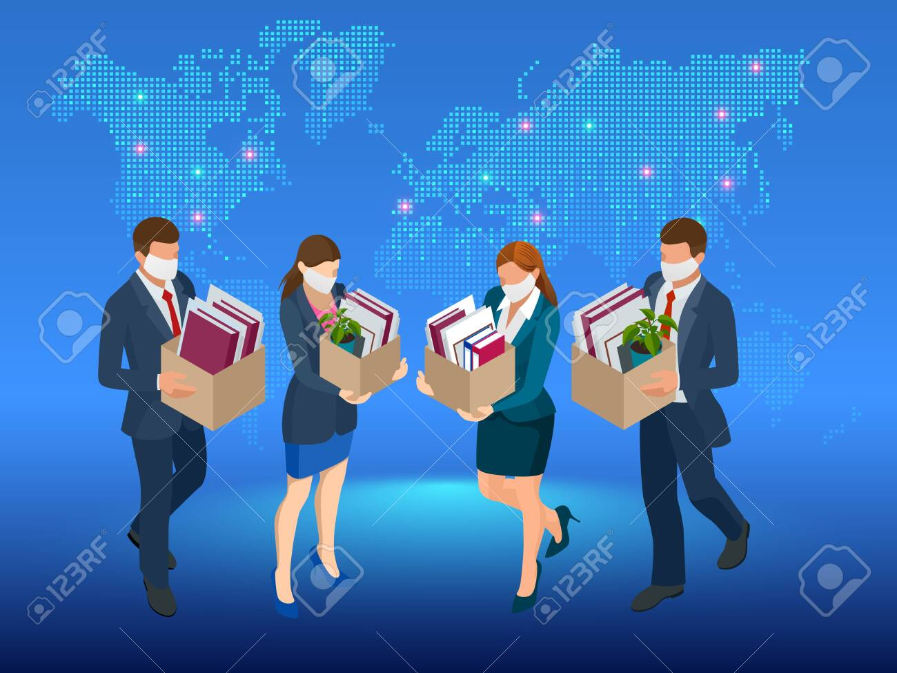 Unemployment, loss job, crisis, jobless and employee job reduction. Dismissed sad man carrying box with her things. Isometric vector illustration - 147591519