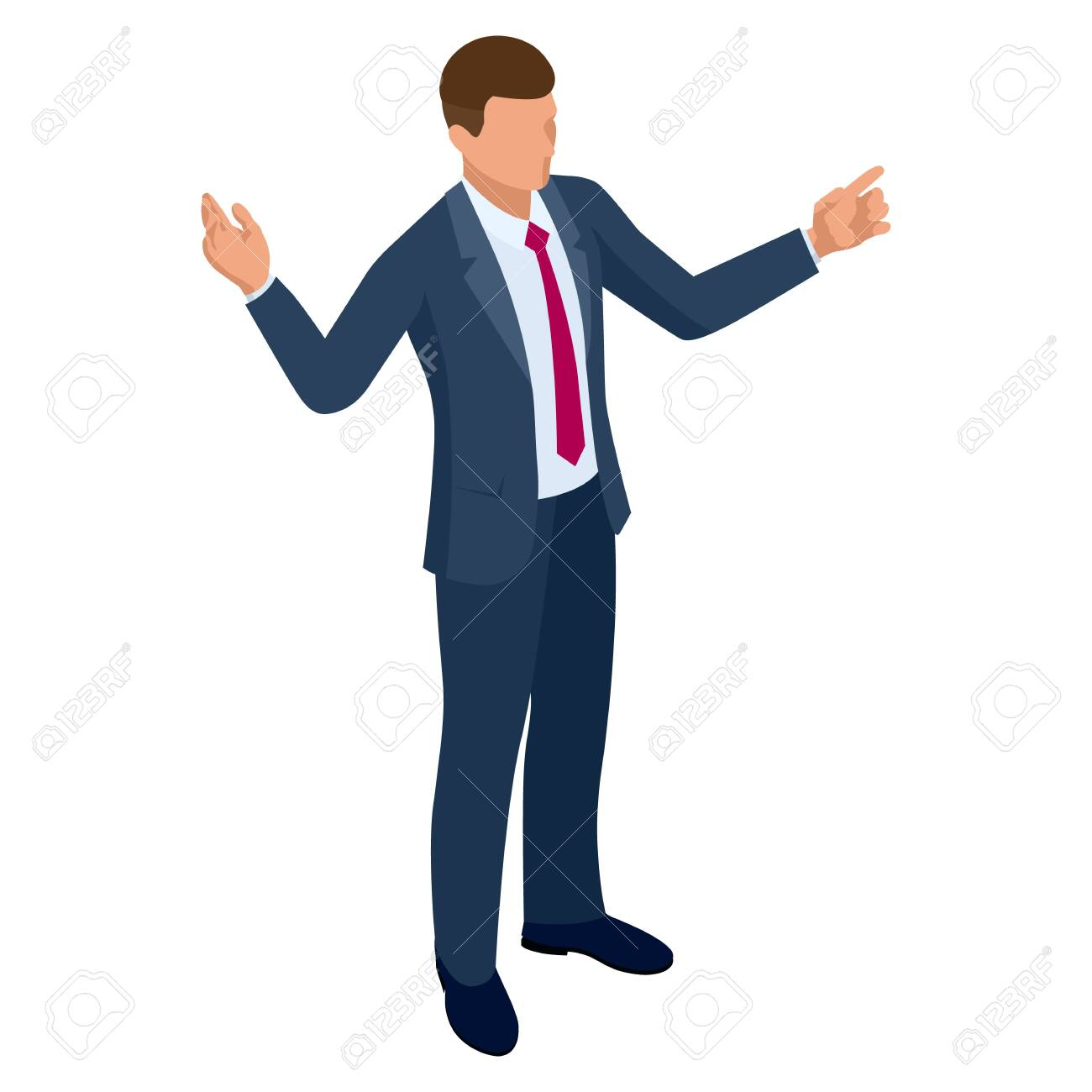Isometric businessman isolated on write. Creating an office worker character, cartoon people. Business people. - 149607555