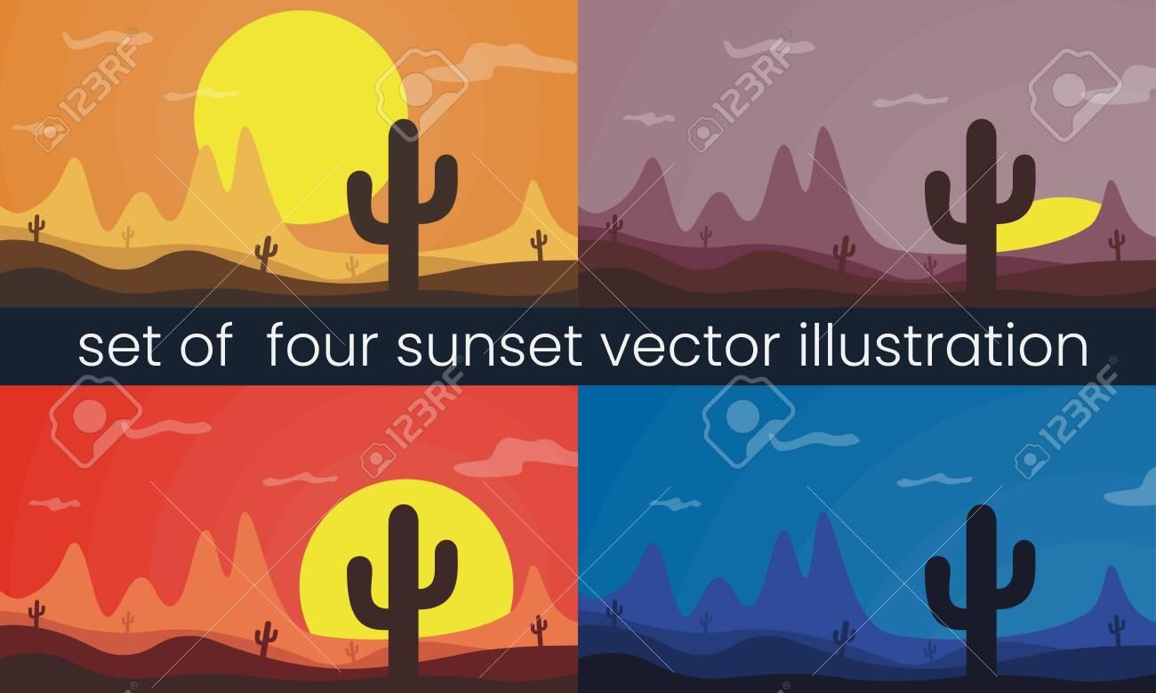 Set of four desert landscape vector illustration. Mountain, sun and cactus. - 122668734