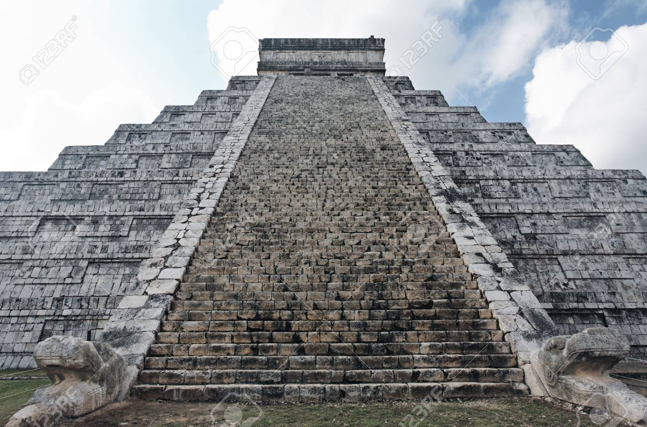 El Castillo the castel of Chichen Itza in the yucatan was a Maya city and one of the greatest religious center and remains today one of the most visited archeological sites - 121743244