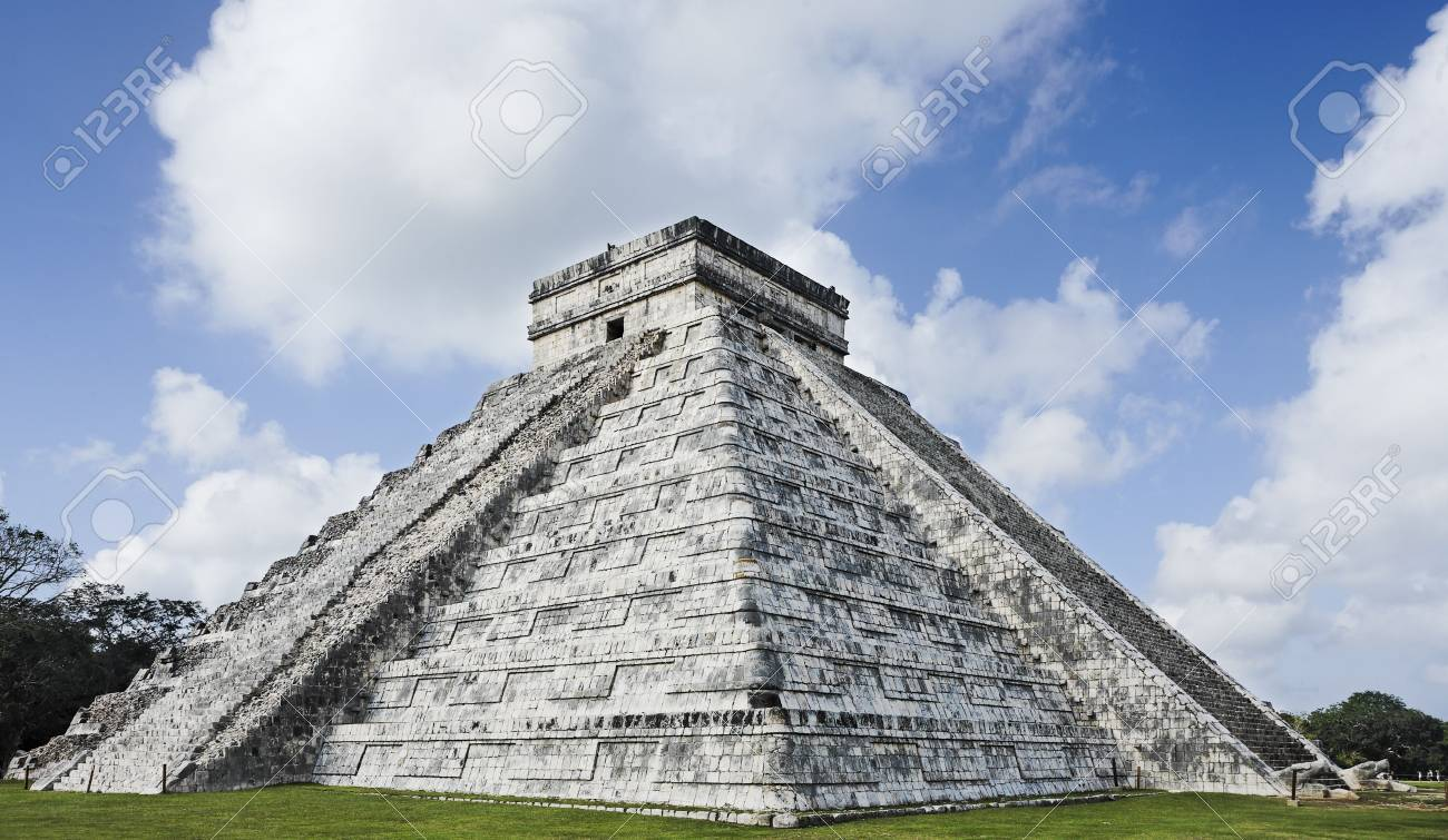 El Castillo the castel of Chichen Itza in the yucatan was a Maya city and one of the greatest religious center and remains today one of the most visited archeological sites - 121743245