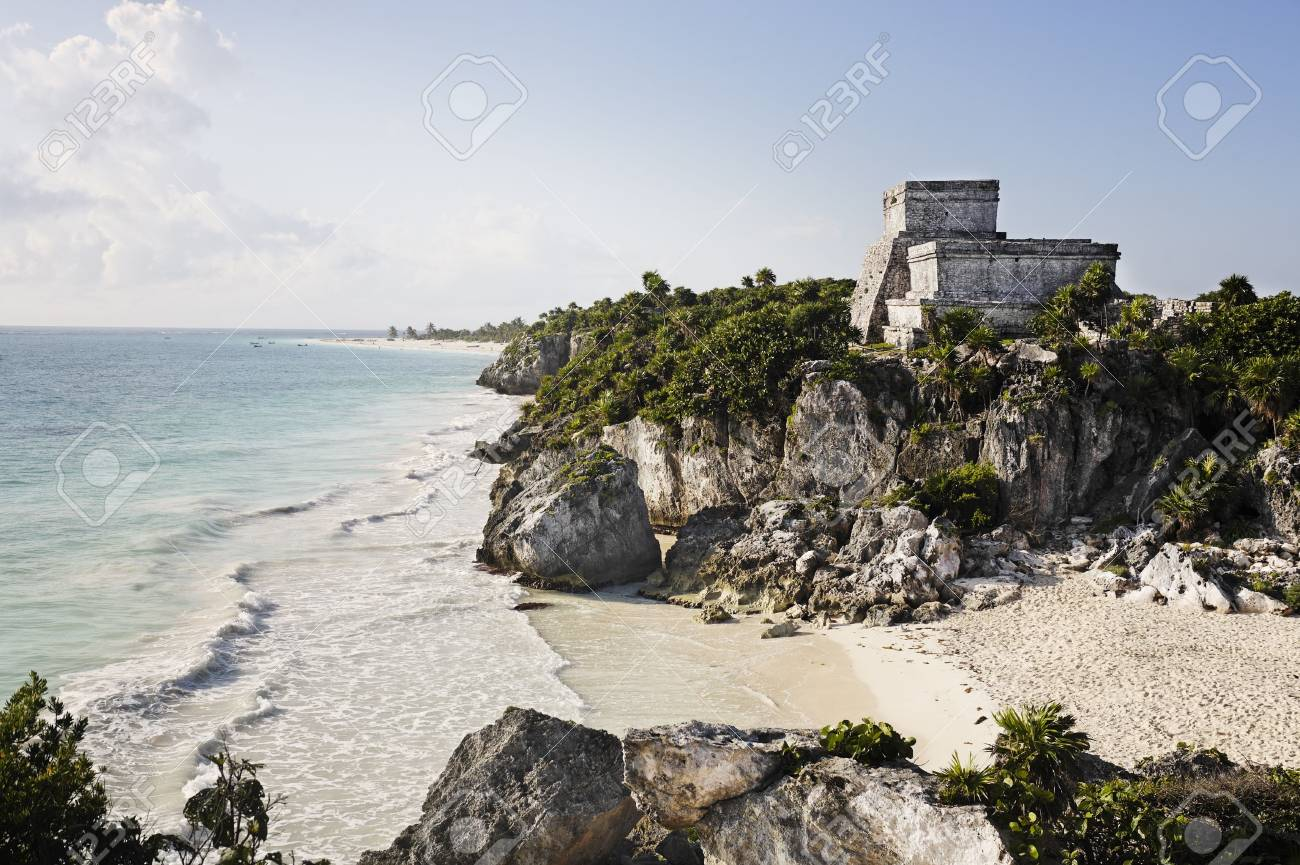 view of the mayan archaeological site of tulum - 121743336