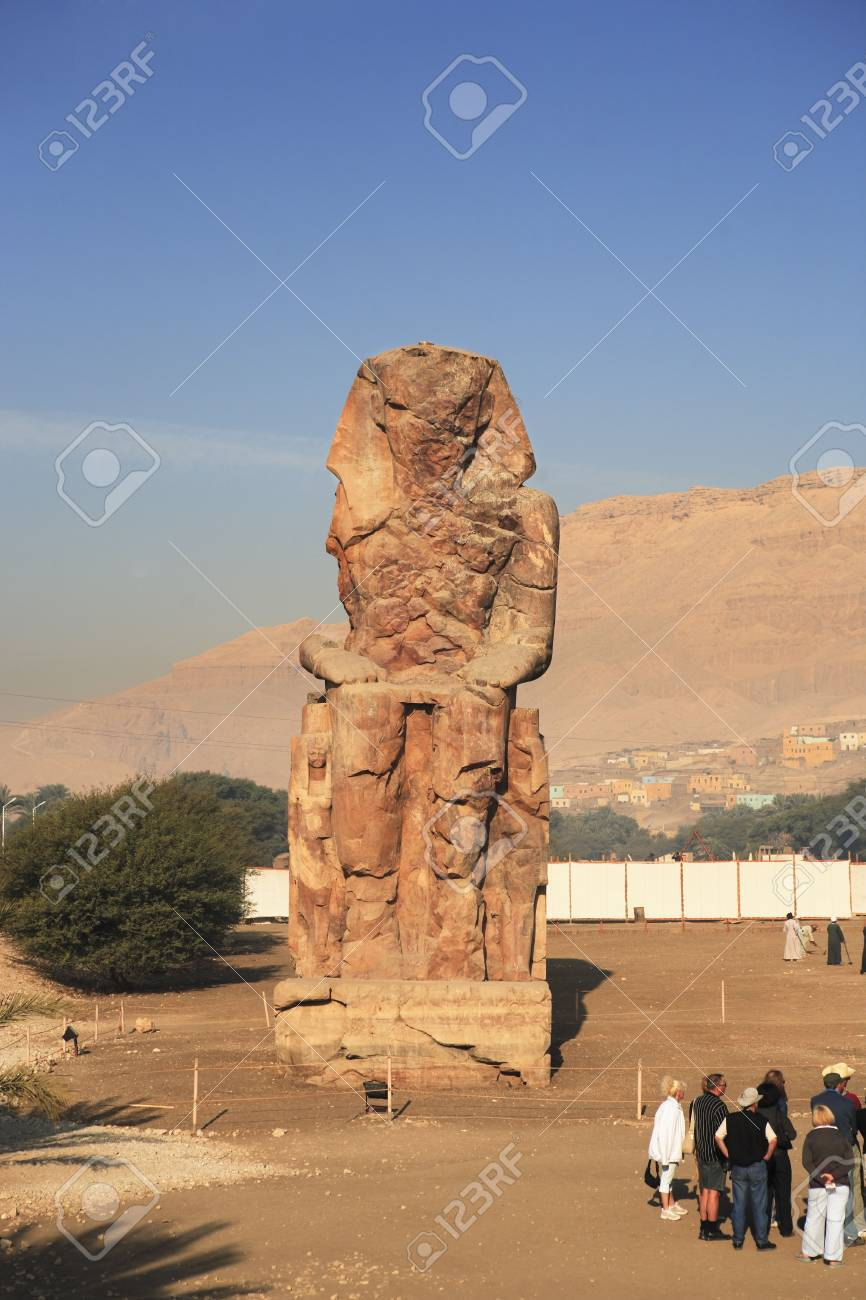 view of the Colossi of Memnon representing Amenhotep III in luxor upper egypt - 121743418