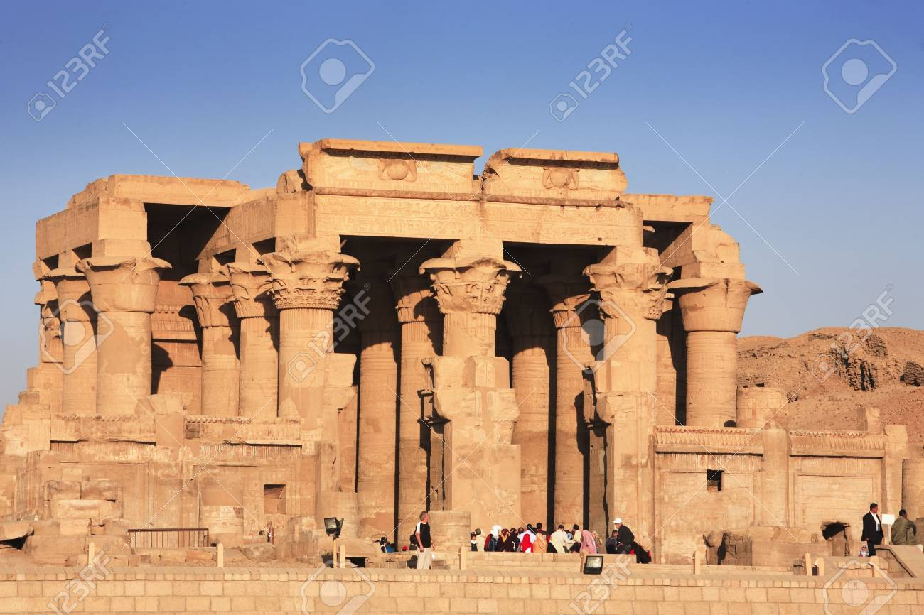 view on the Kom Ombo temple along the river nile in upper egypt - 121743436