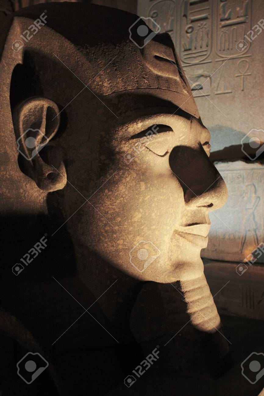 ramessses II statue of the luxor temple by night in upper egypt - 121743443