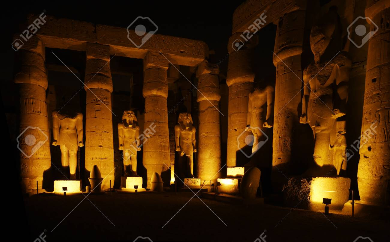 view of the luxor temple by night in upper egypt - 121743445