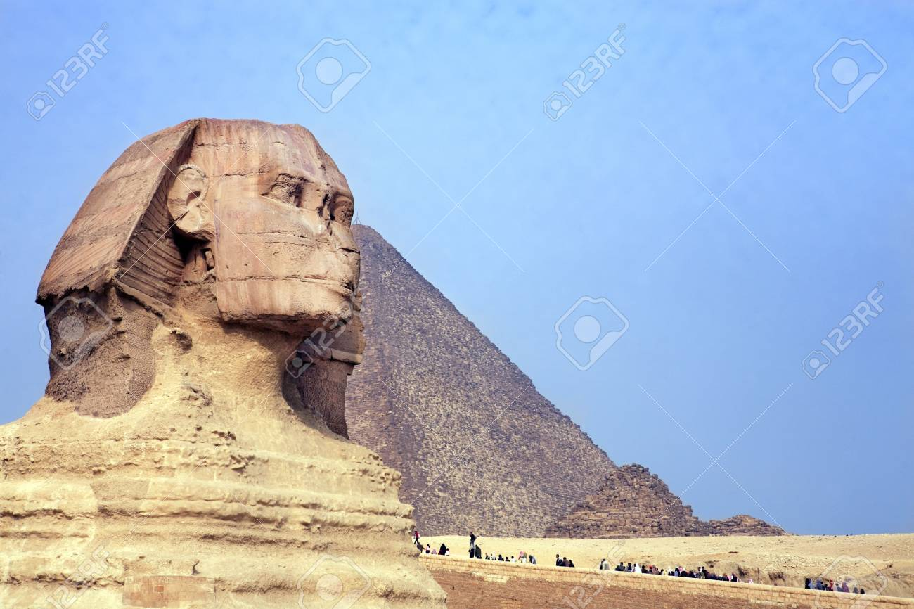 view of the sphynx with the pyramids of gizah near cairo in egypt - 121743485