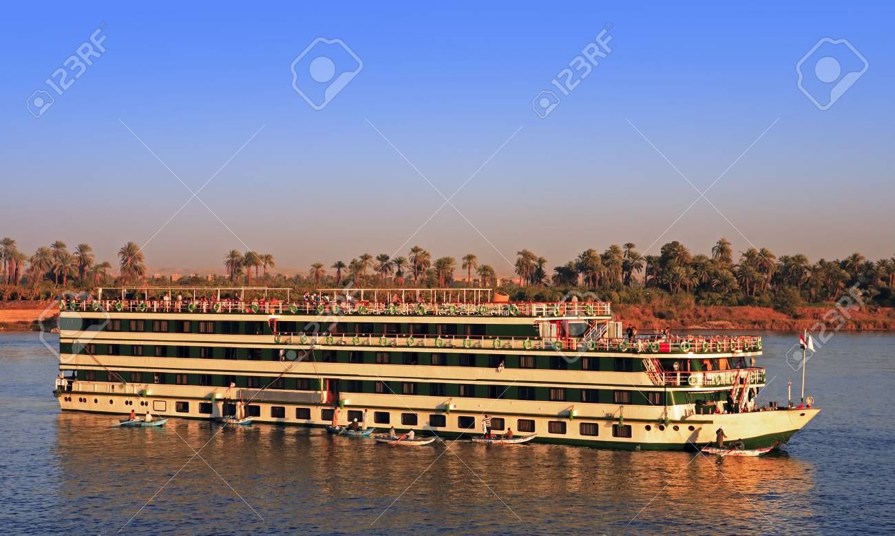 hotel boat cruising on the river nile in egypt - 121743500