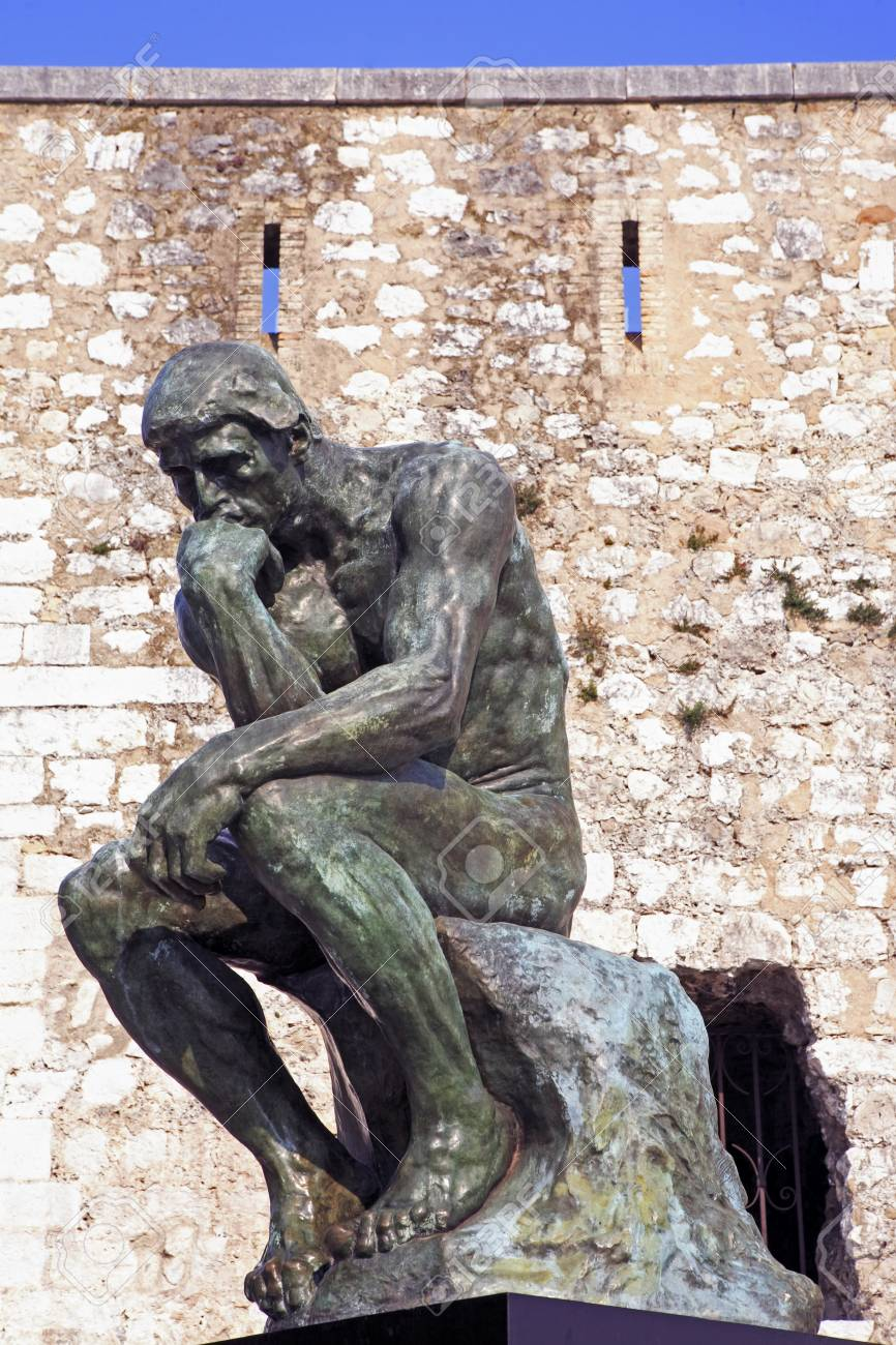 copy of the thinker of rodin of the typical south east of france old stone village of saint paul de vence on the french riviera refuge of many artist,painters,sculptors - 121743551