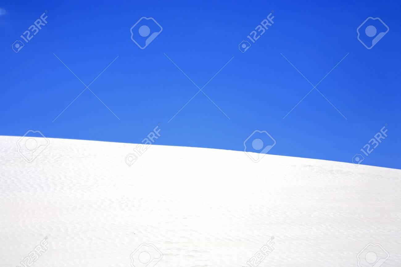 view of lagoa azul in desert sand dunes of the Lencois Maranheses National Park in brazil - 121744006