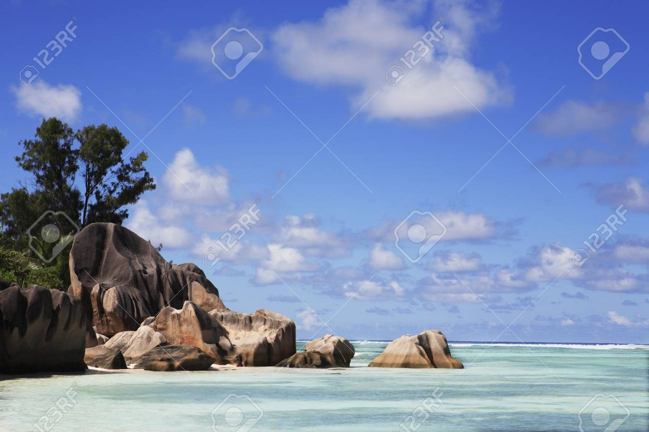 famous and beautiful beach of anse source d'argent at La Digue one of the seychelles island - 121744199