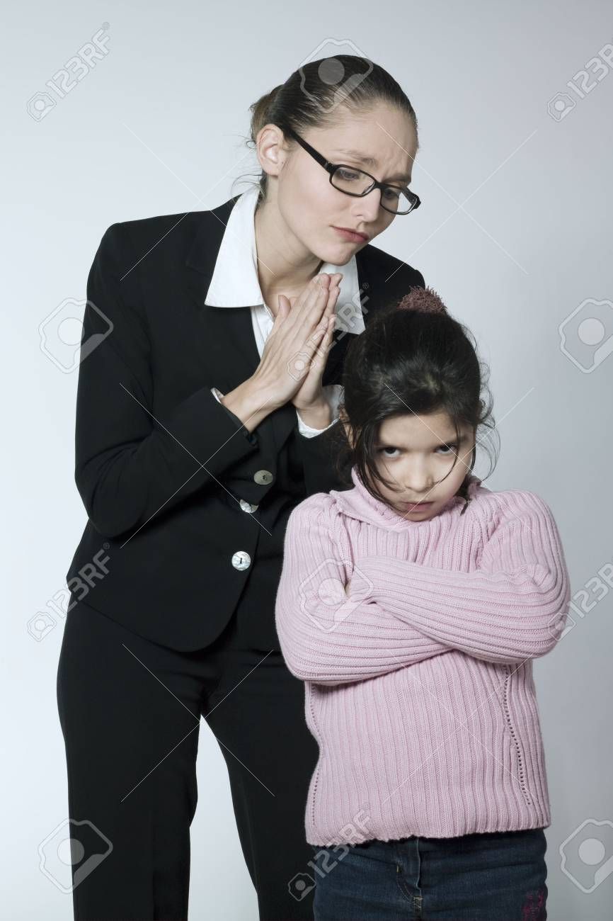 studio shot of a young woman having problem educate her child Stock Photo - 2966752
