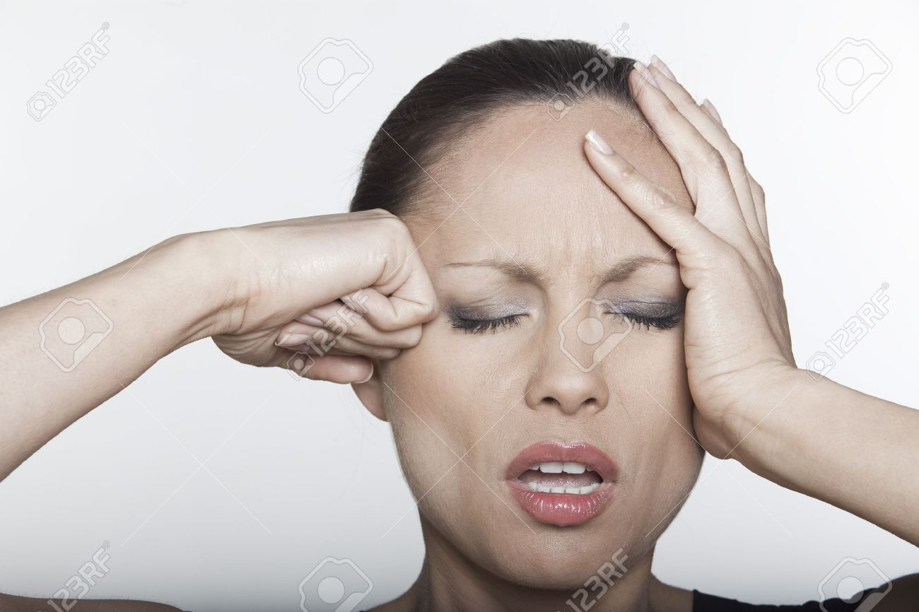 beautiful expressing woman portrait on siolated background confused headache hangover Stock Photo - 5978076
