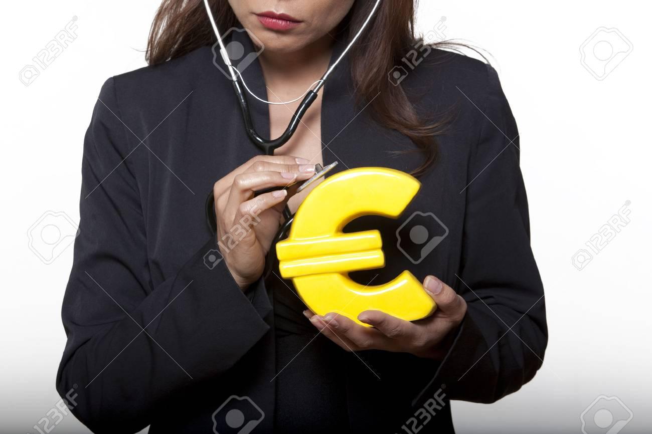 portrait expressive woman isolated background surveying euro Stock Photo - 5844932