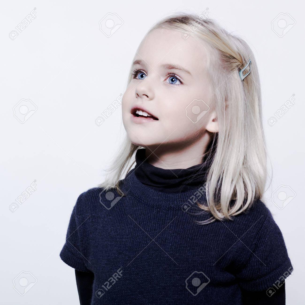 studio portrait of a caucasian cute litle gir Stock Photo - 9823727