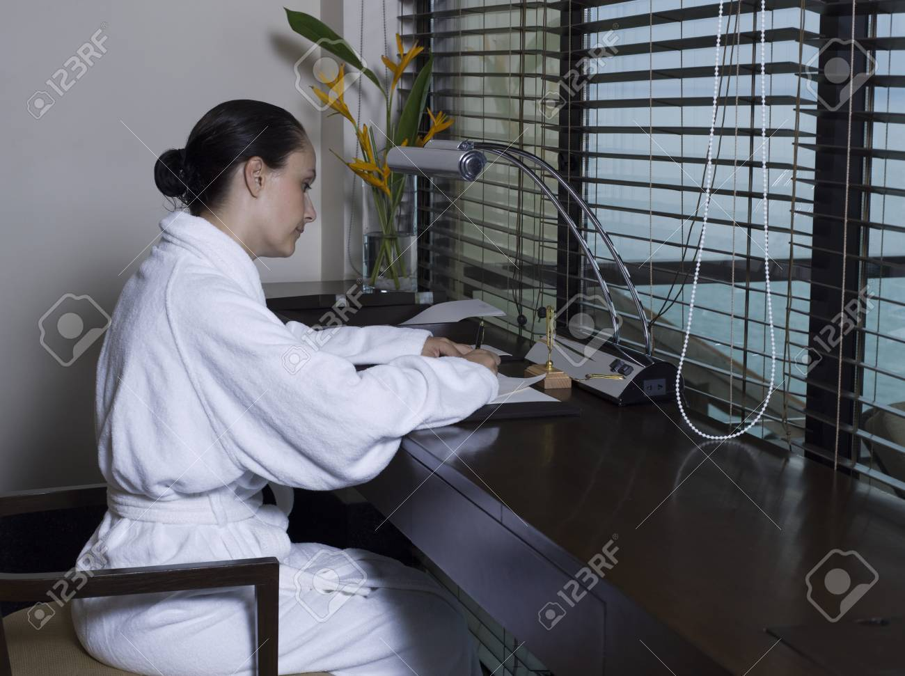beautiful calm and serene woman in palace hotel room writing a letter by a desk Stock Photo - 9823801