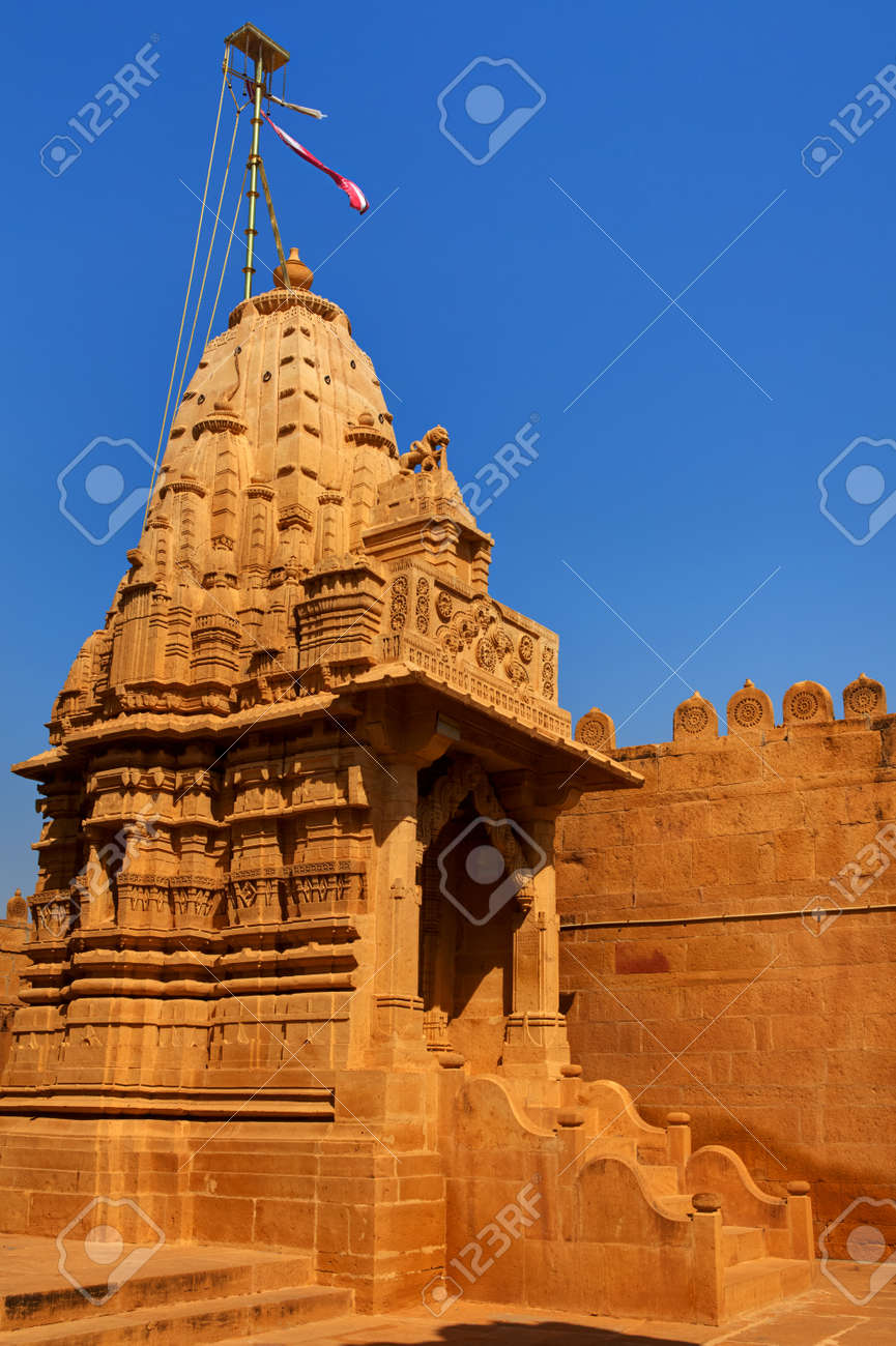 jain temple of lodruva jaisalmer in rajasthan state in indi Stock Photo - 9823834