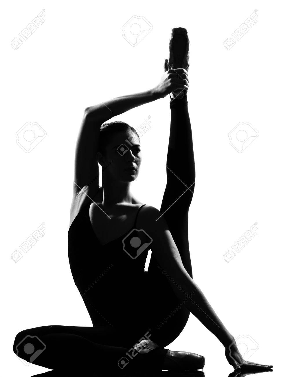 beautiful caucasian tall woman ballet dancer full length on studio isolated white background Stock Photo - 9800025