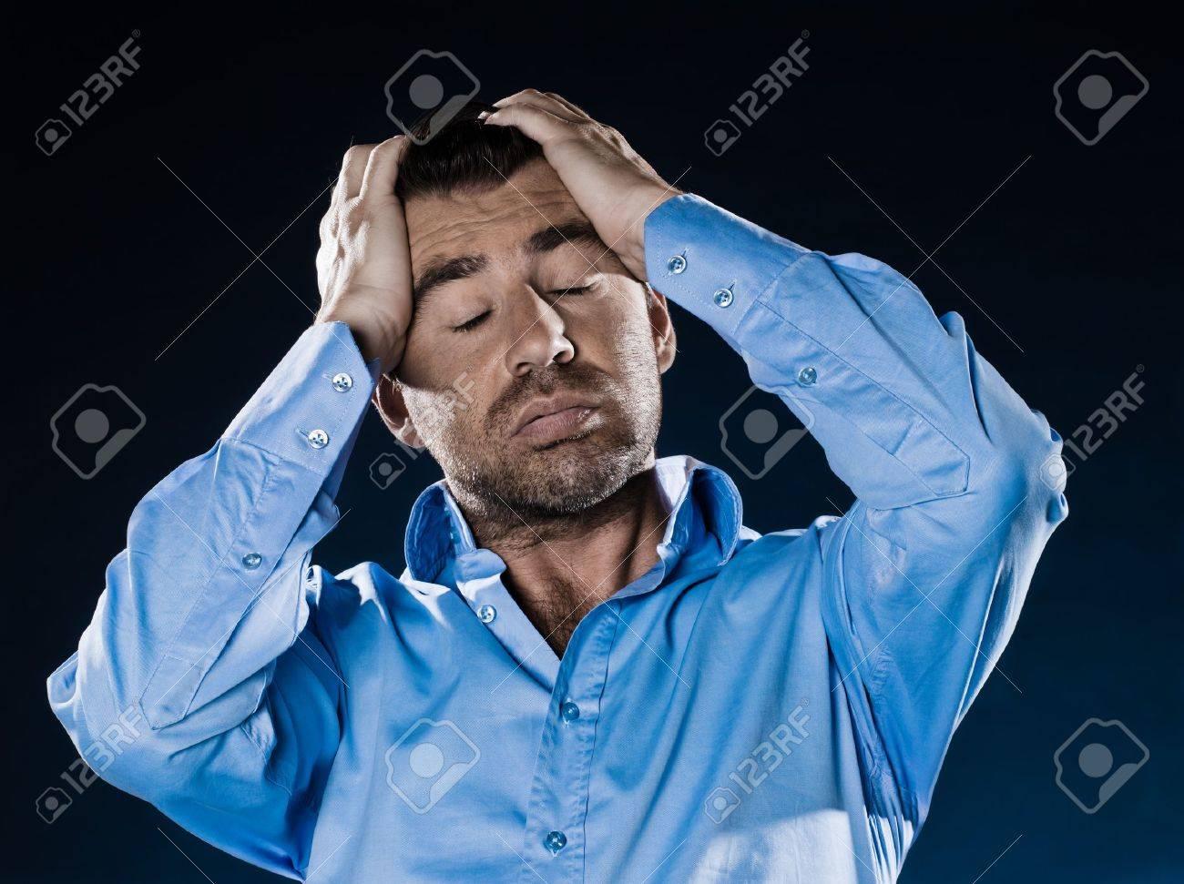 caucasian man fed up unshaven portrait isolated studio on black background Stock Photo - 11752747