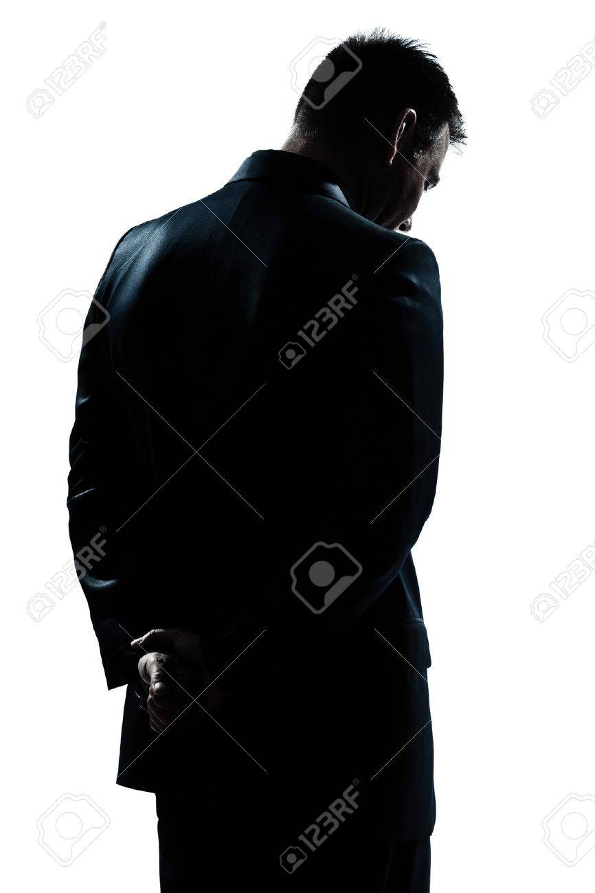 one caucasian man portrait silhouette backside sad despair lonely in studio isolated white background Stock Photo - 11753097
