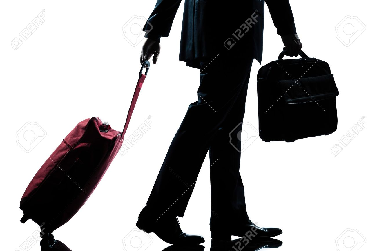 detail side view one caucasian business traveler man walking with suitcase full length silhouette in studio isolated white background - 11610431