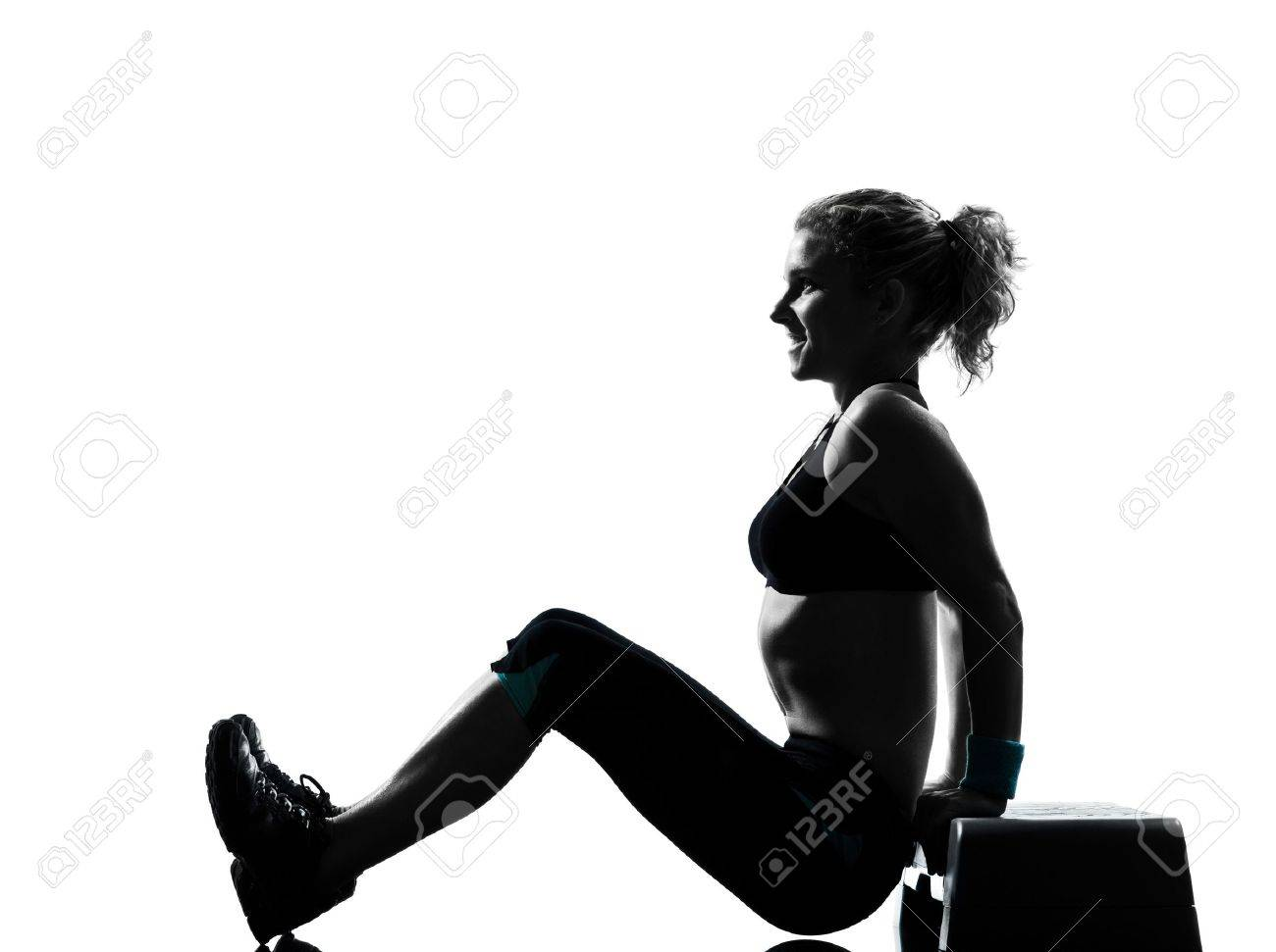 one woman exercising workout fitness aerobic exercise abdominals push ups posture on studio isolated white background Stock Photo - 11753080
