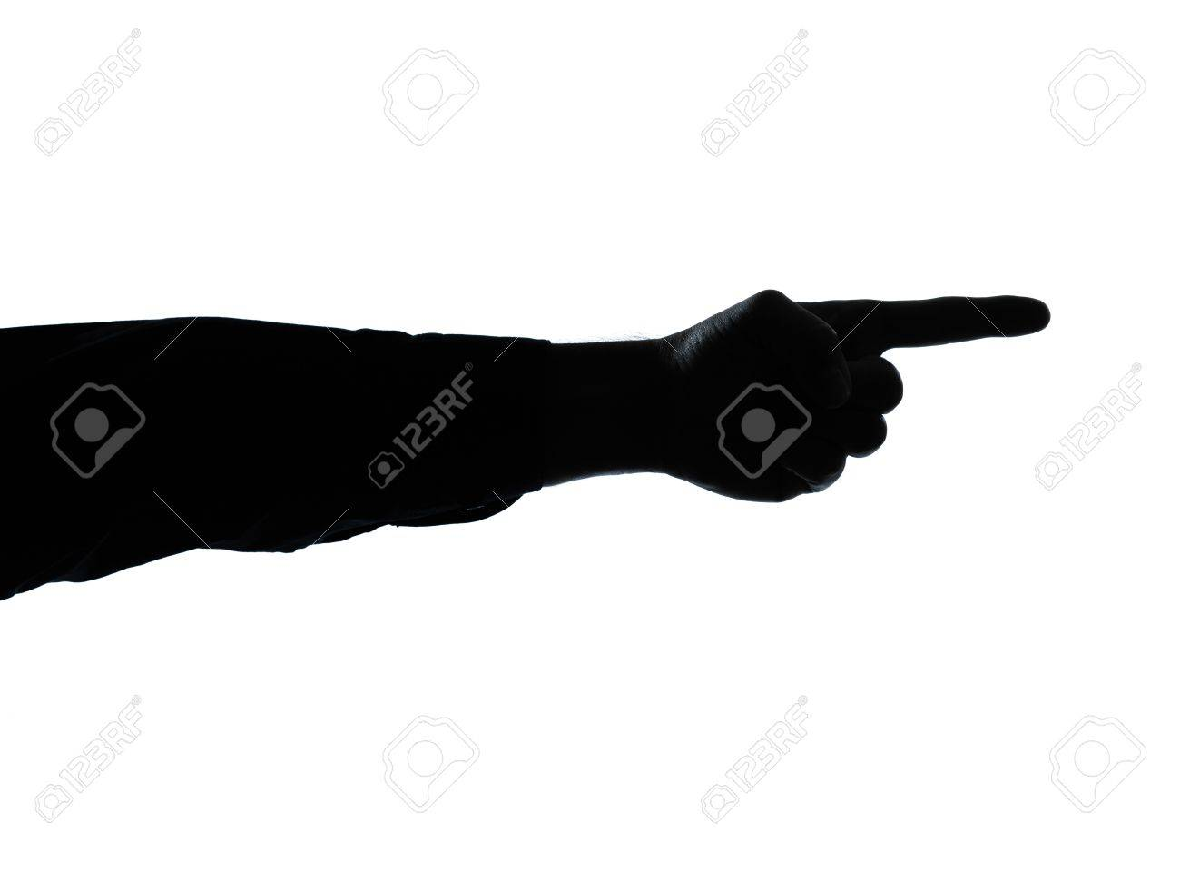 one caucasian close up detail one man hand pointing silhouette in studio isolated on white background Stock Photo - 11613783