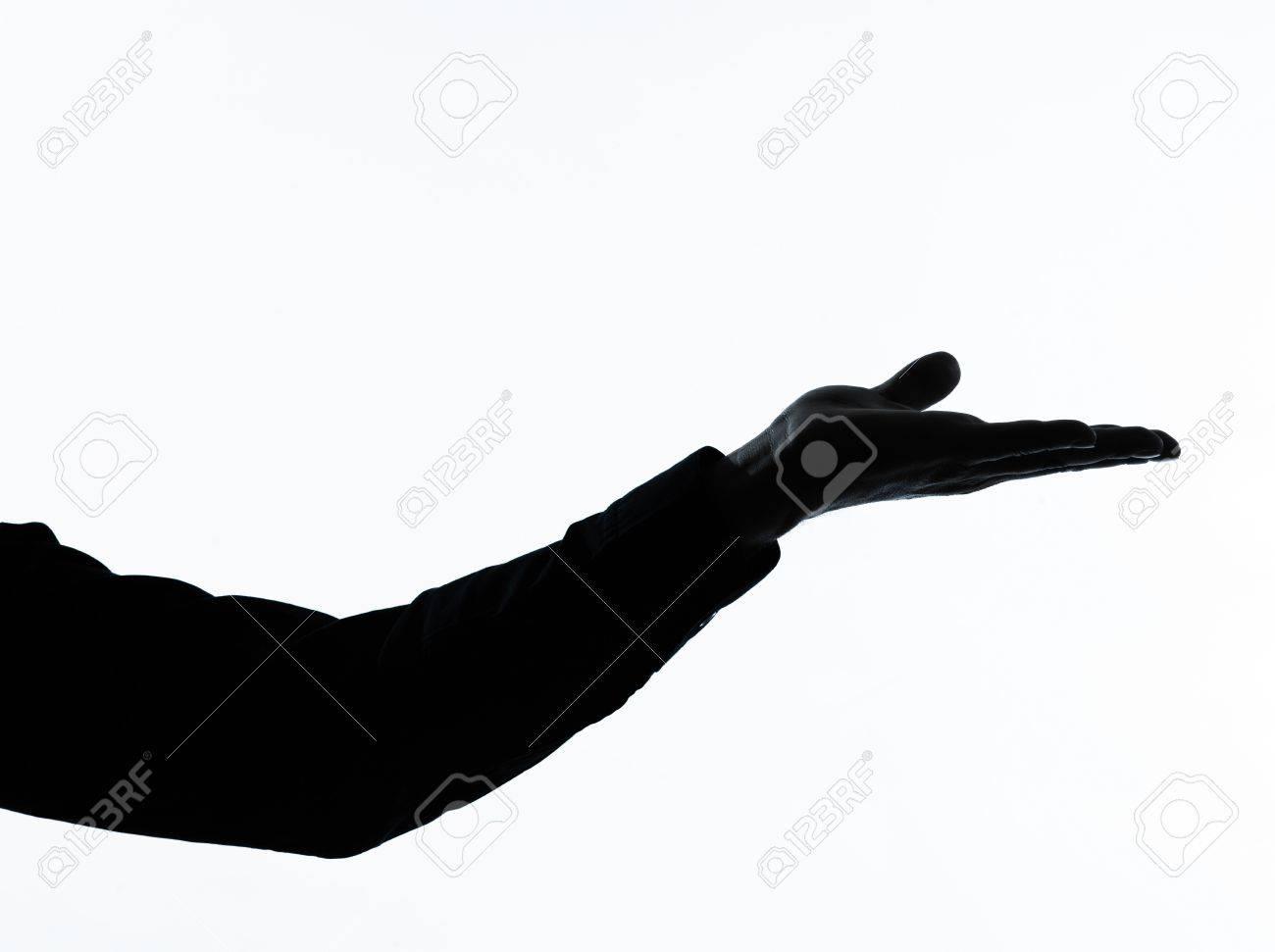 1 つの白人男空手は、白い背景で隔離のスタジオで縦長シルエットを開く