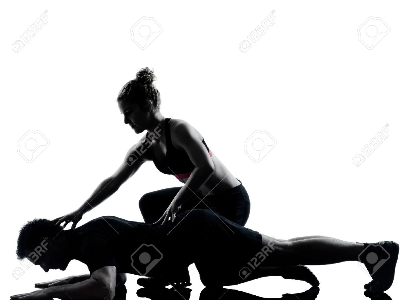 one couple man woman exercising workout aerobic fitness posture full length silouhette on studio isolated on white background Stock Photo - 11752607