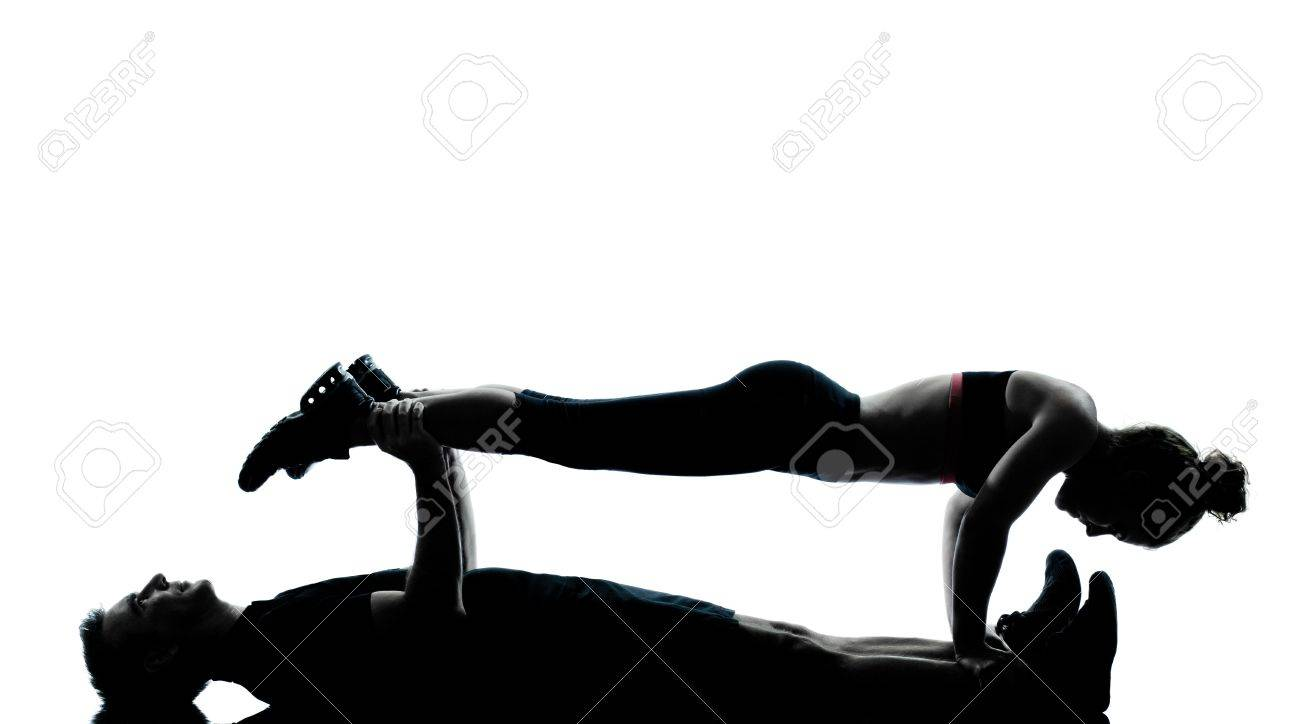 one couple man woman exercising workout aerobic fitness posture full length silouhette on studio isolated on white background Stock Photo - 11752673