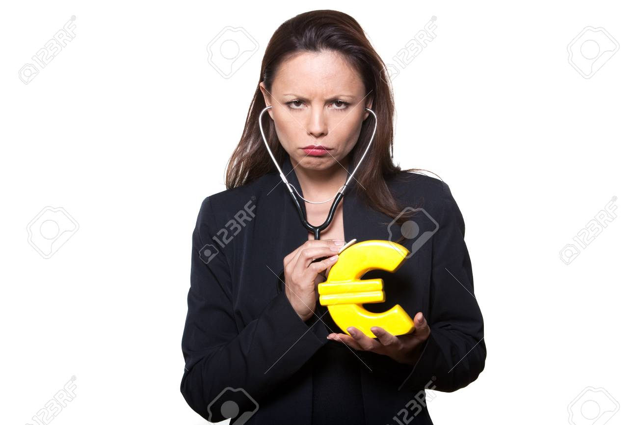 Portrait of beautiful expressive woman examining Euro with stethoscope in studio isolated on white background Stock Photo - 11752553