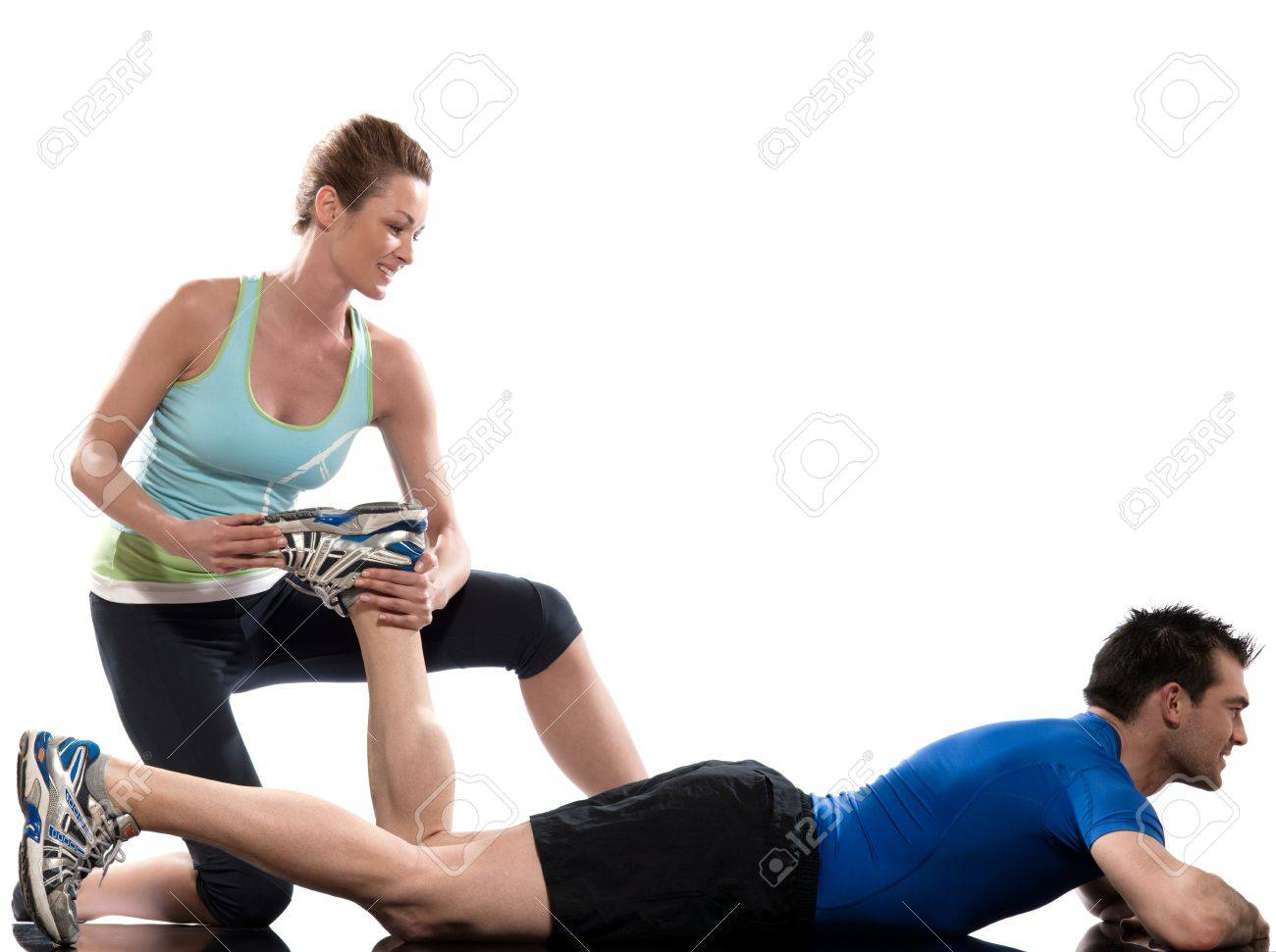 couple, man and woman doing workout on white isolated background Stock Photo - 11766211