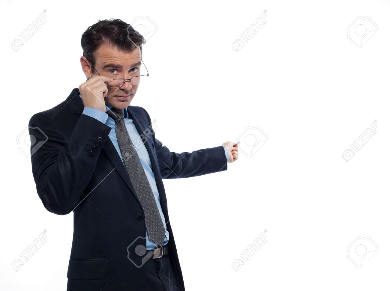 one caucasian man professor teaching beckoning pointing empty copy space  isolated studio on white background Stock Photo - 12710735