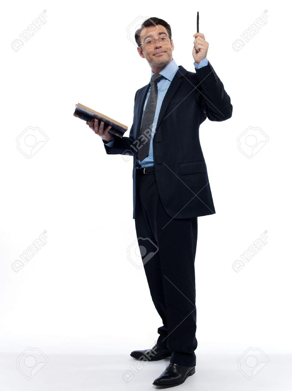 one man caucasian professor teacher teaching  reading an ancient book isolated studio on white background Stock Photo - 12710748