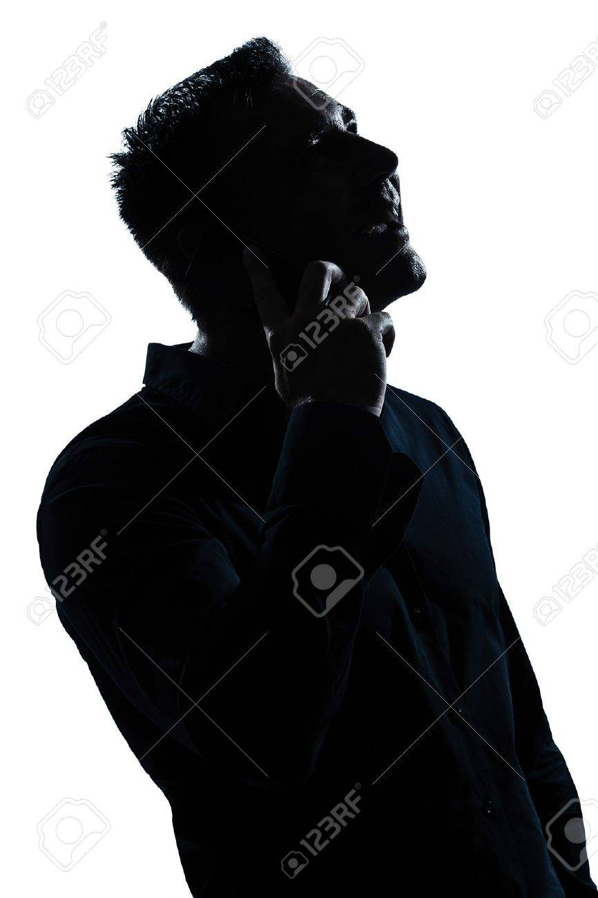one caucasian man happy telephone portrait silhouette in studio isolated white background Stock Photo - 12896711