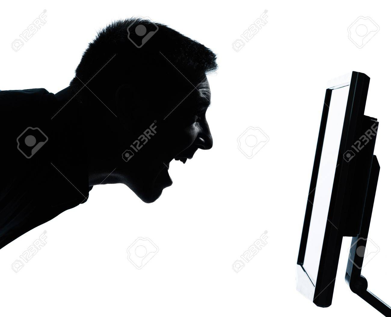 one caucasian business man face happy screaming silhouette with computer screen display portrait in studio isolated on white background Stock Photo - 13339217